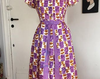 ON SALE Vintage 50s 60s watercolor dress AS Is