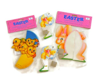 Vintage Easter Decorations, NOS Easter Honeycombs, 1980s 1990s Ephemera, Made in Taiwan