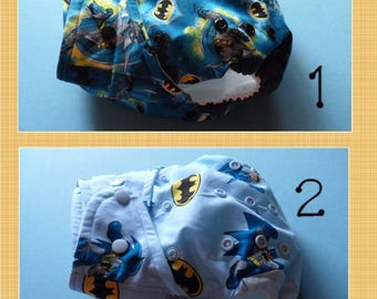 SassyCloth one size pocket diaper with Batman cotton print. Ready to ship.