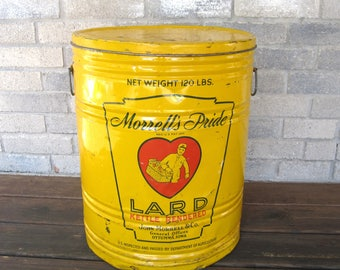 Extra Large Morrell's Pride 120 Pound Lard Can Bucket Vintage Metal Advertising
