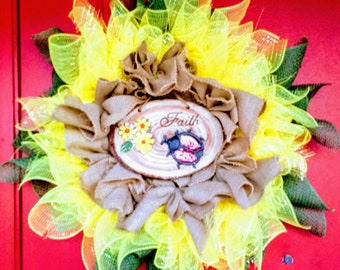 Spring SunFlower Wreath of Faith by Turtle Cove Creations