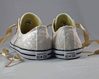Champagne Lace Wedding Converse -Champagne Lace Bridal Converses --Champagne Lace Converse -- Wedding Tennis shoes