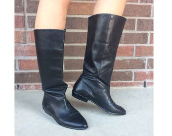 vtg 80s BLACK Tall RIDING BOOTS 6 flat pirate boho preppy leather shoes