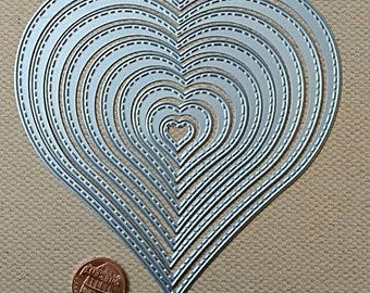 Stitched Heart Dies 10pc Nested