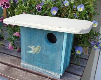 Rustic birdhouse,unique bird house,hummingbird,primitive wood,bird house,rustic home decor,rustic garden decor,green,bird house,wooden