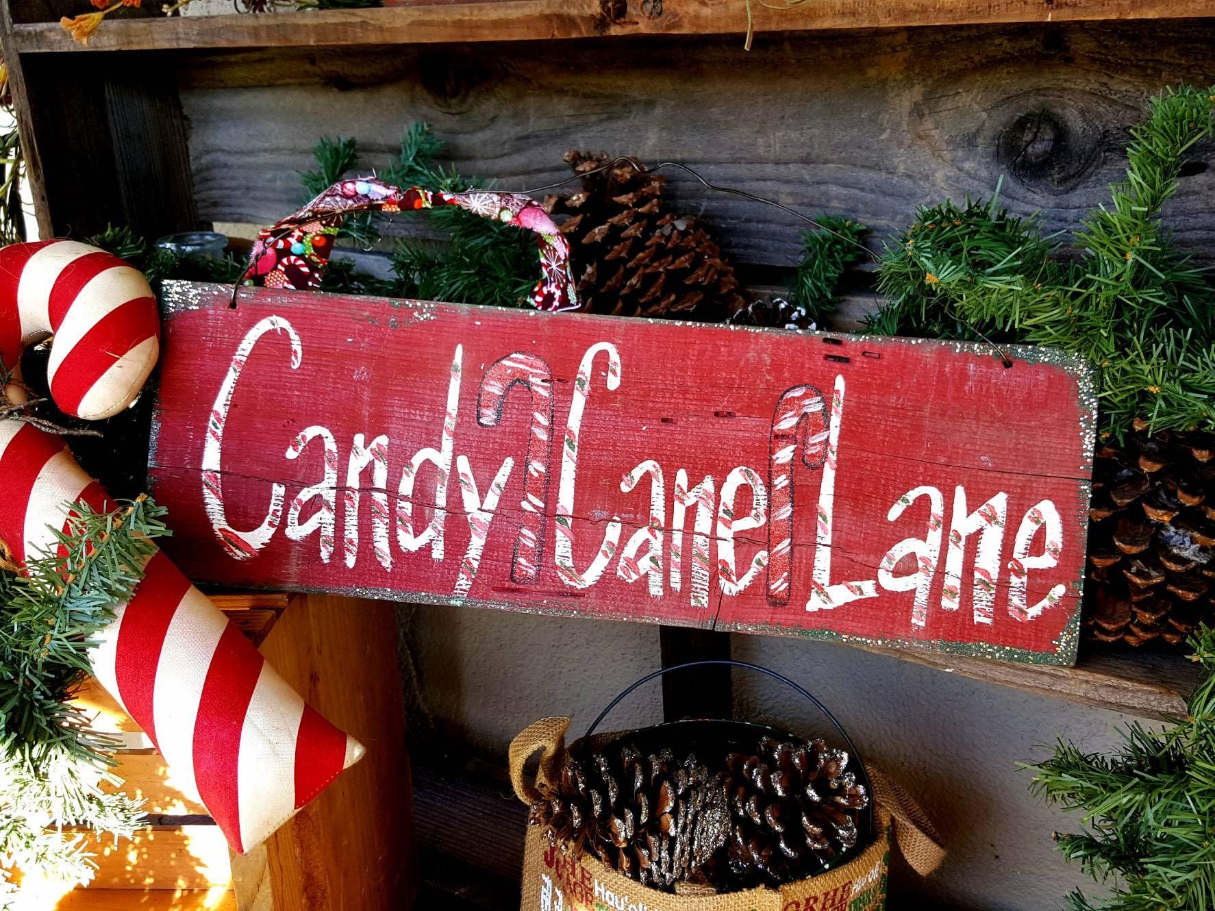 Christmas Door Decorationcandy Cane Lanerustic Signprimitive Decor