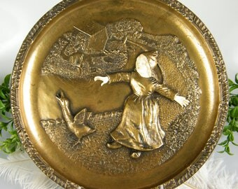 Bronze Collectible Plate / 1979 / James Warren Roberts / Plate No. 00587 / Uncertain Beginning - Life's Interludes Collection