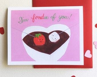 I'm Fondue of You! Love card by Megumi Lemons