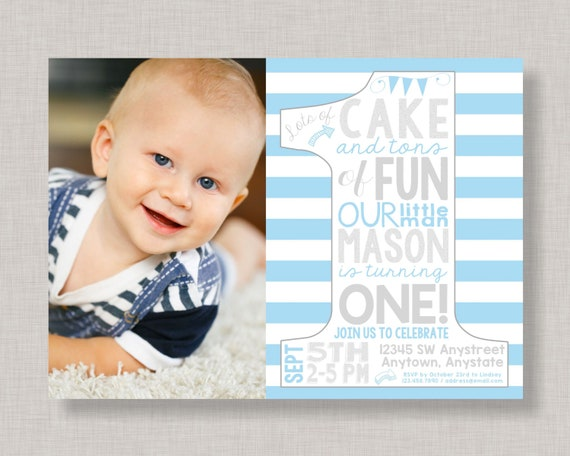 Blue And Silver First Birthday InvitationFirst Invitation1st InviteBoy BirthdayPrince Invitation