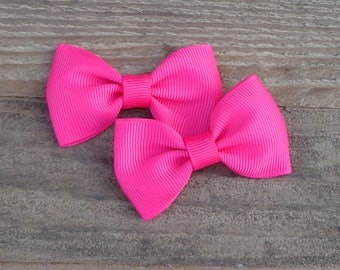 Hair Bows for Pigtails~Easter Hair Bows~Shocking Pink Hair Bow~Tuxedo Hair Bows~Hair Bows~Baby Hair Bows~Small Boutique Bows~Tuxedo Hairbows