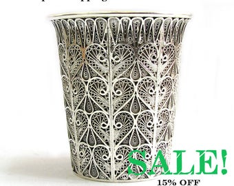 """SALE, Exclusive, Silver Cup, Wine Goblet, Yemenite, Filigree, Chalice, 925 Sterling silver, 3.5"""" X 2.5"""", Inner Cup Coated With 14K Gold 752P"""