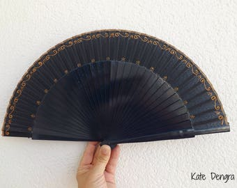 Navy and Bronze Ornate Hand Fan by Kate Dengra Made to Order Spanish Hand Held Fan
