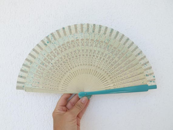 Cream Turquoise Fret Hand Fan