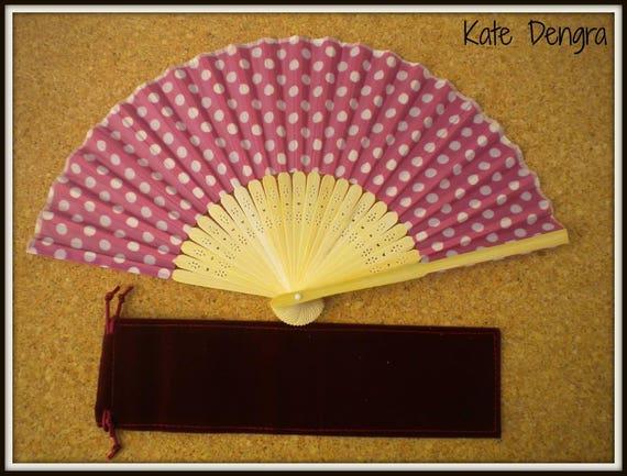 Pink Polka Dot Lightweight Bamboo Hand Fan Budget Price Folding Fan from Spain