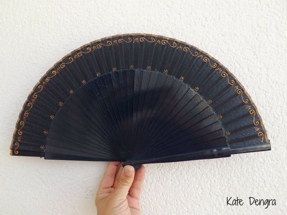 Navy and Bronze Ornate Hand Fan