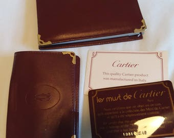 Vintage Le Must de Cartier Paris France Italy Leather Wallet and Notebook Address Book Case with Pen Authentic