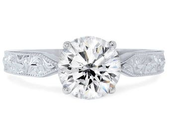 White gold diamond solitaire 1 1/2ct Solitaire Vintage Diamond Engagement Ring 14K White Gold