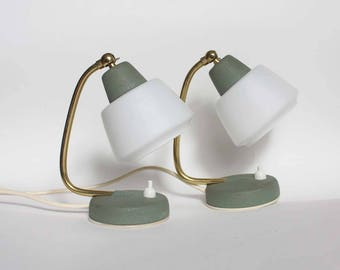 Pair of 1950s grey-green Midcentury Modern table lamps.  White glass lamp shades, brass. cute, quirky night lights