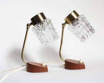 1960s accent lights / bedside table lamps. wood, white glass, brass. Danish /minimalist / midcentury modern style