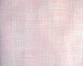 Pink White Grid Denim Fabric, 100 Percent Cotton, Fabric by the Yard, Sewing Fabric