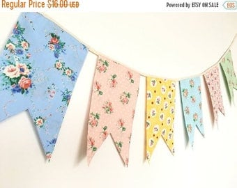 ON SALE Shabby Chic Fabric Banners, Bunting, Garland, Wedding Bunting,  Flags - 5 ft