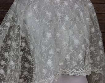 Ivory Lace Fabric - Embroidered Flowers Petals with scalloped edges - Bridal lace Fabric - Christening Gown Fabric - First Communion Dress,