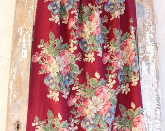 Vintage Mid Century Crimson Red White Pink and Blue Vintage Barkcloth Fabric Drapery Panel