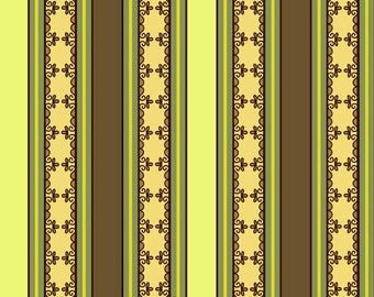 C2676 Gold Green Fiona Stripe, Fiona's Fancy by Lila Tueller for Riley Blake