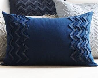 Linen pillow cover, Indigo linen lumbar pillow, Textured cushion cover SALE