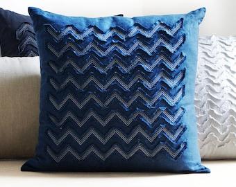 Indigo linen decorative pillow cover, Textured blue linen pillow covers SALE