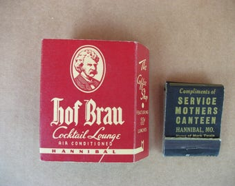 Vintage 1940's Hannibal Mo. Advertising Matchbook and Cigarette Pack holder, Mark Twain