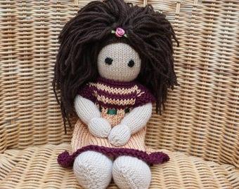 "12"" Hand Knitted Doll, Handmade Doll, Brown Hair Doll,  Knitted Doll, Soft Merino Wool Doll, knitted cotton dress, traditional ragdoll,"