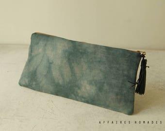 Pouch. Pencil case. Utility pouch cosmetic bag. bag divider. Hand dyed pouch. Linen pouch. Wallet linen purse. Clutch bag. Bag in bag.
