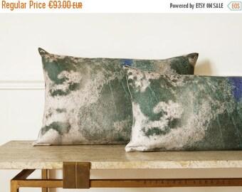 "ON SALE Abstract art plant motif  Vine / Linen Oblong Cushion 14""x 22"".  Green..  /  FRAGMENTS  Green decor"