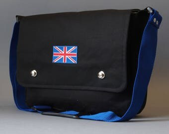 "iPad Pro 10.5"" or 12.9"" Messenger Bag in waxed cotton with Union Jack decal"
