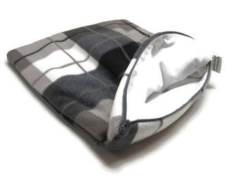 Luxury Electric Heating Pad Cover* -  Gray-Taupe-B&W Plaid Padded Fleece