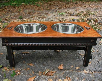 Elevated Dog Bowl Feeder, Extra Large Dogs, 2 Five Quart Bowls, Old English with Black Feeding Station, Cottage Chic Style Made To Order