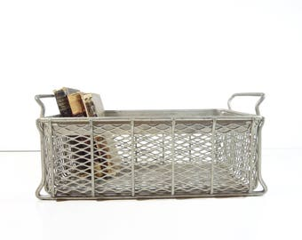 Vintage Metal Crate / Metal Wire Basket / Industrial Storage