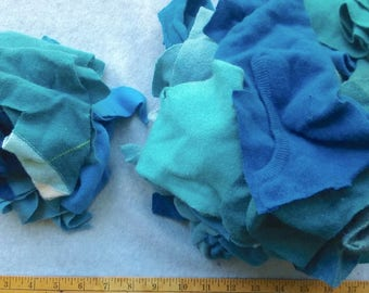 Cashmere Recycled Remnants - Aqua Teal Turquoise for DIY Cratfs and Projects - Choose Bundle Size
