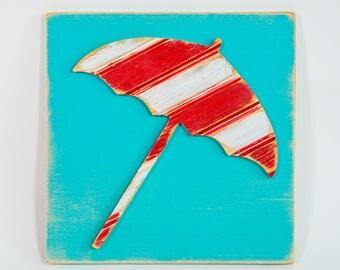 Beach Umbrella Multi-Colored Wall Art, Wooden Distressed Antique Bead Board
