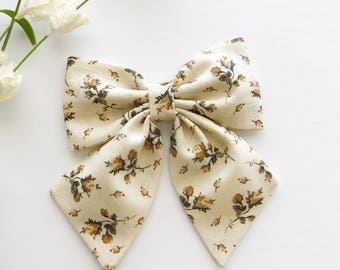 Oversized Sailor Bow - Sailor Bow Clip - Fabric Bow Clip - Big Sailor Bow - Girls Bow Clip - Hair Bow - Hair Accessories - Fall Floral Bow