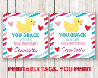 Duck valentines day kids cards, Valentine's tag, rubber duck Label, Red pink Valentine labels , turquoise teal Label, Printable Tag