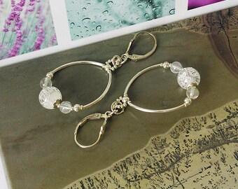 Boucles Dormeuses Créoles - Perles de Cristal de roche craquelé blanc / Argent 925 - White rock crystal lever back Sterling S. earrings