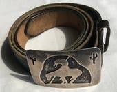 Sterling Silver Southwest Belt Buckle With Cowhide Belt