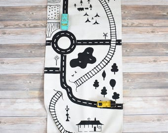 Town/ Country Playmat, Village Playmat, Road playmat, cars play rug, neighborhood playmat, train playmat, town playmat, vehicle playmat