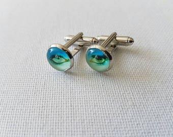 David Bowie Eyes 10mm cabochon small silvertone cufflinks.