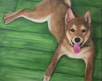 Shiba inu painting large custom pet portrait on canvas acrylic original dog art
