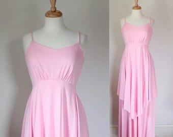 ON SALE 70s Ballerina Blush Pink Maxi Dress