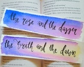 The Wrath and The Dawn Watercolor Bookmark, Rose And The Dagger, Gift For Booklover, Young Adult Bookmark