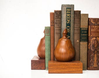 Vintage Solid Wood Pear Bookends